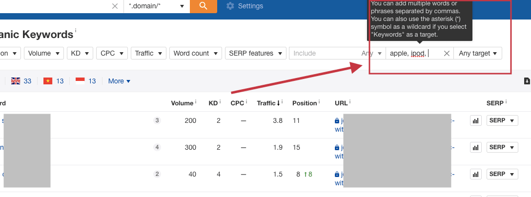 ahref exclude branded keywords