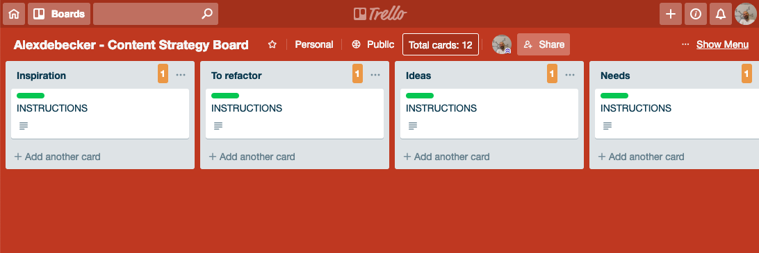 content strategy trello board